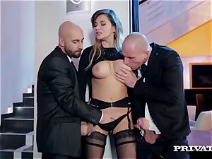 Anna Polina takes care of two insane studs