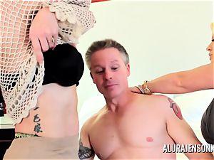 cougar detective Alura Jenson threesome fuck-a-thon