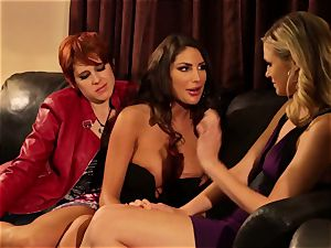 August Ames and Lily Cade cable on bed romp