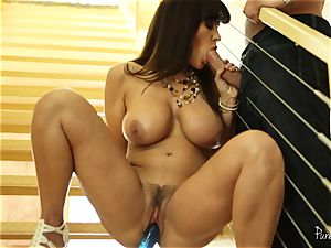 mummy Lisa Ann licked deep on the stairs