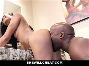 SheWillCheat - cuckold wife penetrates big black cock in bathroom