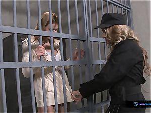 Nathasa Brill and Goldie Divine lezzy jail intercourse