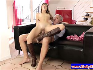 black-haired fledgling puny babe drilled