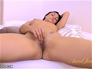 Olivia nastier takes off nude and displays her beaver