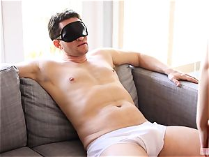 slender stunner Alice March blindfolds and screws her boyfriend