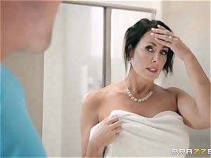 super-naughty youth porks his gorgeous ginormous buxomy stepmother Reagan Foxx in the shower apartment
