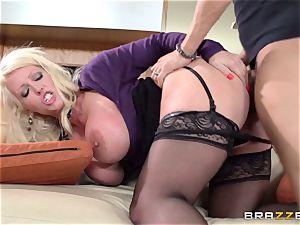 sloppy milf Alura Jensen drills her daughters-in-law dude