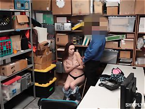super-steamy red-haired shoplifter takes hard-on as punishment