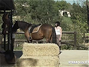 pony Rider Yasmin Scott rides a hung Stallion