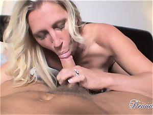 Devon Lee is loving her man's crop slammed in her fleshy throat