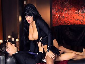 black haired Alison Tyler smashes her suited paramour