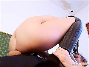 schoolgirl Dolly Diore plowing her giant dicked tutor