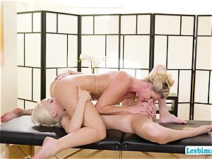 Elsa and India worships super-hot sixty-nine stance on the rubdown table