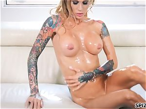 Spizoo- Sarah Jessie lubricant up and get boinked by a phat pink cigar