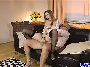 Eurobabe nurse fucks mature duo