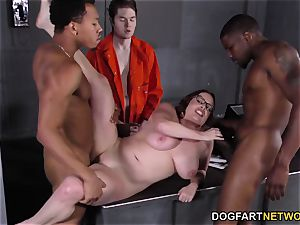 big-titted Maggie Green Has bi-racial 3some In prison