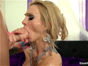 Sarah gives a pov deep throat in green fishnets