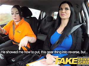 fake Driving school huge-titted lezzy ex-con eats hot muff