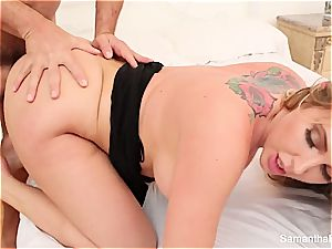 Samantha Saint gets sexually sated by a phat manmeat