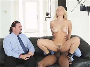 greedy wife Sarah Vandella gets her appetite suppressed by big black cock