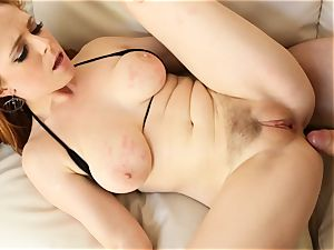 red-haired Penny Pax pulverizes with her wooly muff