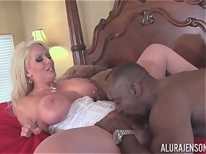 Alura Jenson gets her pretty mouth packed with stiff black sausage