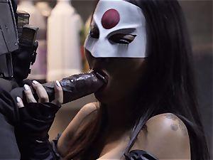 Suicide team parody Sn four Ada Akira riding dark-hued boner
