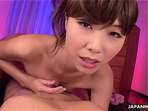 whorey japanese stunner getting her fellow off with a massage