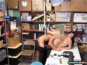 big-boobed Jade Amber gets her cock-squeezing cunny fucked by bulky officers hefty man-meat