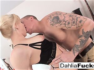 gonzo bang-out on a ample bed with Dahlia Sky and Richie ebony