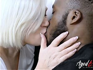 AgedLovE ample ebony knob and towheaded Mature obese