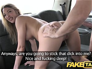 faux cab footjob and humungous jizz shot for adorable shaved fuckbox
