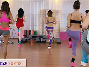 sport rooms gym dolls have girl-on-girl three way