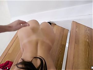 August Ames getting thrashed nut deep on the stairway