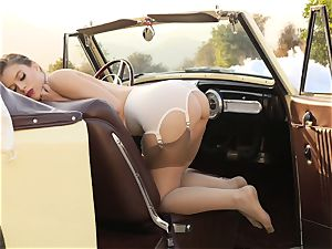 Lana Rhoades antique car cunny play