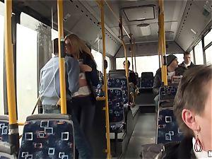 Lindsey Olsen smashes her guy on a public bus