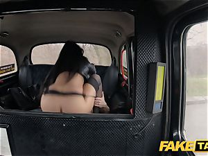 faux taxi steamy Latina with ginormous globes and caboose
