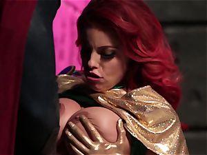 Britney Amber deepthroats off a wild superhero