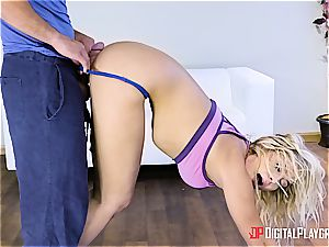 Blair Williams showcases some man-meat yoga after class
