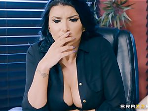 ultra-kinky brown-haired milf Romi Rain inserted in the bootie in the office