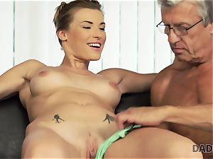 DADDY4K. female left with mouthhole of cum after being torn up by dad