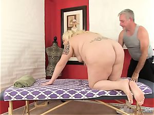 platinum-blonde fatty fuck-a-thon massage
