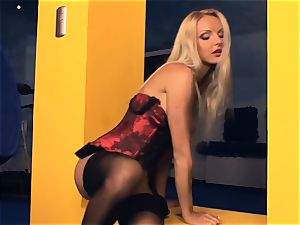 Victoria milks in tights and high high-heeled shoes