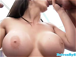 Rich babe Aletta Ocean exposes her tits to 2 Paparazzi